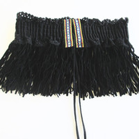 Bohemian Belt/ Black Fringe Belt / Indian Belt/  Elastic Belt- Black Suede Belt/ Gypsy Belt.