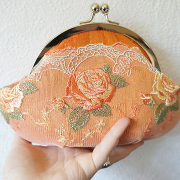 Framed orange clutch, small clutch purse wristlet, orange silk clutch with floral lace overlay, personalized clutch,