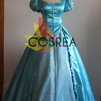 Disney Little Mermaid Ariel Turquoise Brocade Dress With Free Shipping Worldwide