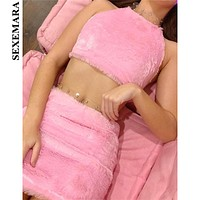 BOOFEENAA Fuzzy Pink Fur Bodycon 2 Piece Set Crop Top Skirt Cute Sexy Party Club Winter Outfits Women Matching Sets C71-AC84