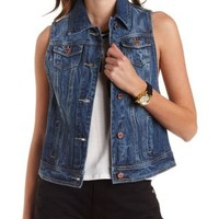 Dropped Armhole Denim Vest by Charlotte Russe