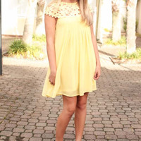 Hello Yellow Cap Sleeve Lace Detail Dress