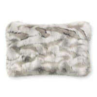 Faux Fur Lumbar Pillow Cover, Gray Fox