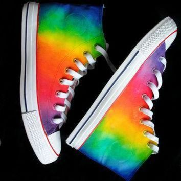 DCCKGQ8 custom handpainted rainbow sneakers personalized shoes rainbow converse rainbow vans