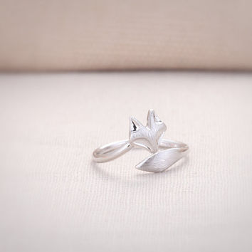 Cute Fox Ring - Silver // R012-SV // Rhodium Plated, Everyday Jewelry, Simple, Chic, Adjustable Ring