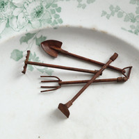Fairy Garden Tools - Miniature Rusty Metal Tools, 4 Piece Set