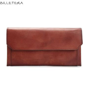 BILLETERA Vintage 100% Genuine Vegetable Tanned Leather Cowhide Women Wallets Purse With Removable Pocket Wallet Purse