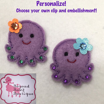 Cute octopus baby hair clip, custom colors and embellishments, toddler hairclip, embroidered felt hair clip, spring, summer, design your own