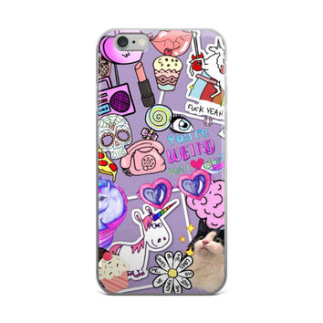 Telephone Unicorn Milk Shake Heart Glasses Boom Box Lipstick Pizza Girl Code Collage Teen Cute Girly Girls Purple iPhone 4 4s 5 5s 5C 6 6s 6 Plus 6s Plus 7 & 7 Plus Case
