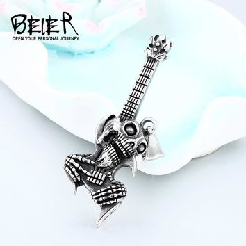 BEIER Hip Hop stainless steel The Music Guitar Skull Pendant Short Necklace Punk fashion  jewelry man organizer Gift LHP021