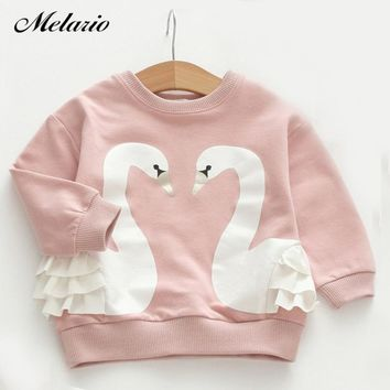 Melario Girls T-shirts 2018 Girls Clothes Baby Girls T-Shirt Cute Cartoon Bird Lace Children Clothes Toddler Kids Clothing