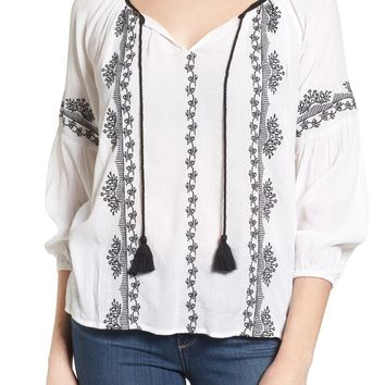 Lucky Brand Embroidered Peasant Top | Nordstrom