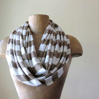 Striped Infinity Scarf  Tan Ivory Oatmeal Stripes Loop by EcoShag