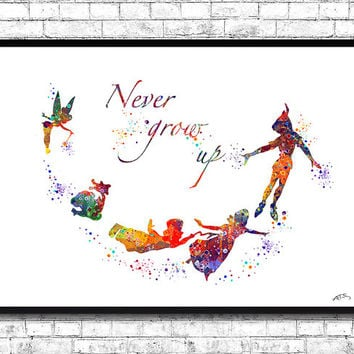 Peter Pan Quote Fine Art Watercolor Print Children's Room Wall Art Blue Disney Cartoon Poster Baby Room Nursery Gift Home Decor Art Poster