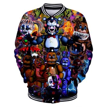 LUCKYFRIDAYF 2018 3D  at Freddy Baseball Jacket Skull Print Hot Sale Women/Men Coats Casual Jacket Clothes 4XL