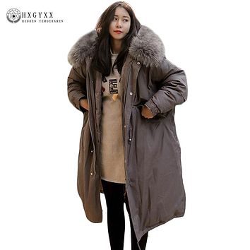 Big Fur Fashion Hooded Military Parka Plus Size Quilted Coat Winter Jacket Women 2017 Loose Oversize Down Cotton Outwear Okb147