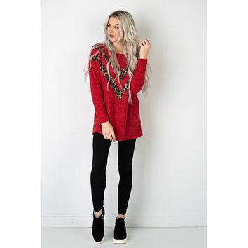 Leopard V Cut Red Long Sleeve Top