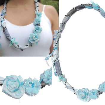 Statement Fabric Necklace, Textile jewelry, blue floral necklace, Eco-friendly, fabric rose, Ribbon necklace