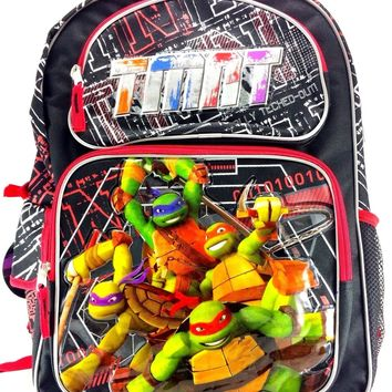 "Teenage Mutant Ninja Turtles 16"" Canvas Black & Red School Backpack"