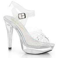 Platform Ankle Strap Sandal Rhinestones On Vamp-Stripper Shoes
