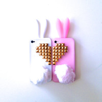 Best Friends Bunny Rabbit Heart Studded iPhone by GlitzyGirlBling