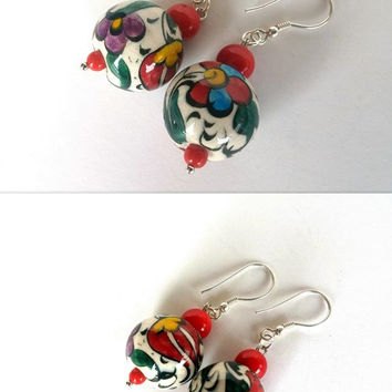 Ceramic Earrings, Hand - Painted  Ceramic Earrings, Flowers - Dangle Earrings, Christmas Gift, Women Jewellery, Birthday Gift, Boho