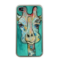 Giraffe iphone case Apple iphone 4 or 4s by HeavenlyCreaturesArt