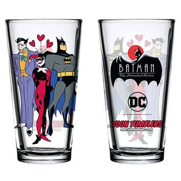 Batman: The Animated Series Mad Love Toon Tumbler Pint Glass - PopFun Merchandising - Batman - Pint Glasses at Entertainment Earth