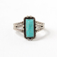 Vintage Sterling Silver Turquoise Blue Stone Ring- Size 7 1/2 Retro Southwestern Native American Style Jewelry