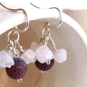 Agate earrings - Rose quartz earrings - Cluster earrings - Gemstone earrings - Red pink clusters - Birthstone jewelry - Stone earrings