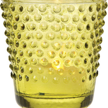 Vintage Glass Candle Holder (hobnail design) - Green