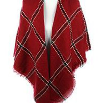 PATTERNED SOFT YARN SCARF  Poncho Wrap Deep Red Plaid One Size