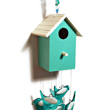 Whimsical Hand Painted Aqua Birdhouse Wind Chime with Aqua Fused Glass Birds - One of a Kind