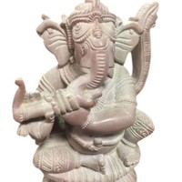 Ganesha Spiritual Stone Statue Playing With Flute Good Luck Art Sculpture 4 Inc