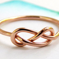 Rose Gold-filled Infinity Knot Ring-- 14K Gold-filled ring, gold filled ring, love ring, love knot, promise ring, infinity friendship ring
