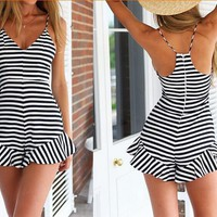 BLACK AND WHITE STRIPES DRESS STRAP BACKLESS JUMPSUITS