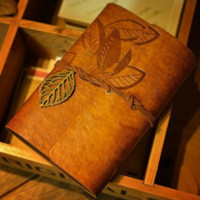 Vintage Leaf Refillable Leather Travelers Journals Diary Notepad Notebook