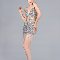 Cocktail Short Mini Dress Halter Top Sequins Prom Formal Fun Sheer Classy Gown
