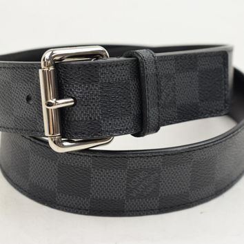 Authentic Louis Vuitton Belt Damier Graphite X Silvertone 85/34 76256