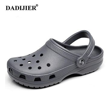 DADIJIER 2018 Men Sandals Summer Slippers Shoes Croc fashion beach Sandals Casual Flat Slip On Flip Flops Men Hollow Shoes ST263