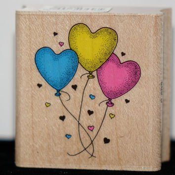 Heart Balloon Stamp | Valentine's Day Rubber Stamp | Hero Arts | Wedding Cards | Bridal Scrapbook