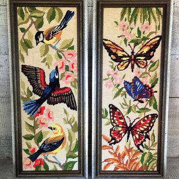 Embroidery Wall Art 2 Cross Stitched Butterflies and Bird Wall Hangings Framed Embroidery Wall Hanging Set of Vintage Cross Stitched Art