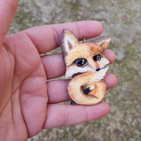Fox cute necklace pendant charm fashion polymer clay hand made gift funny humor for kids her birthday