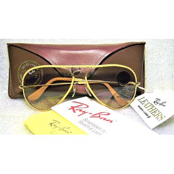 Ray-Ban USA NOS Vintage B&L Aviator Ostrich Leathers L1513 Changeable Sunglasses