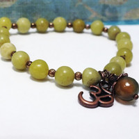 Green Olive Jade Copper Om Charm Stretch Bracelet
