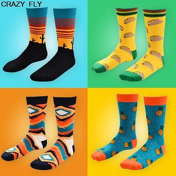 CRAZY FLY New Autumn And Winter New HAPPY SOCKS Men Women Fashion Art Cotton Crew Socks Painting Style Harajuku Design Socks