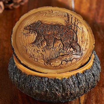 Wood Carved Look Boxes Wildlife Nature Bear Buffalo