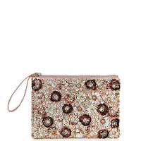 Shell Pink Floral Embellished Zip Top Clutch