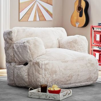 Polar Bear Faux Fur Eco Lounger Speaker Media Chair