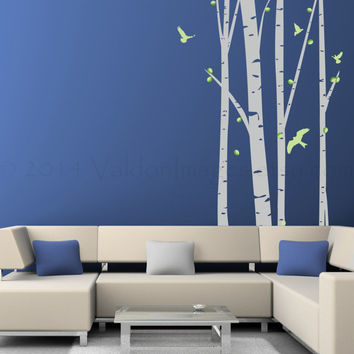 Large birch tree wall decal with birds, wall sticker, decal, wall graphic, vinyl decal, vinyl decal with birds, vinyl graphic wall decal